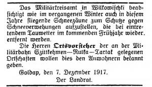 Militärbahn-Szittkehmen-Rutka Tartak 1917